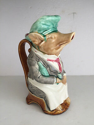 Authentic Antique French Onnaing Majolica Pig Head Waiter PITCHER Maitre D'Hotel