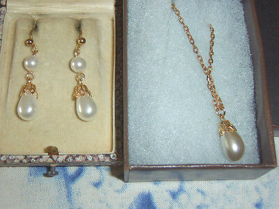 Tudor Antique Style Vintage Gold Plate ? Sim Pearl Droplet Earrings Necklace Set