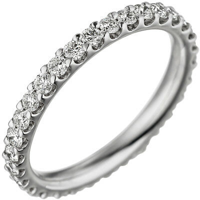 Memory Ring with Various Diamonds Brilliants Round 1,0 CT 585 Gold White Gold
