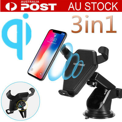 10W Qi Wireless Gravity Car Fast Charger Phone Mount Holder for iPhone Samsung