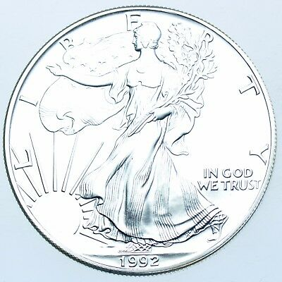 Usa, United States, 1Oz Fine Silver Eagle Dollar $1, 1992 Coin In A Capsule Bu