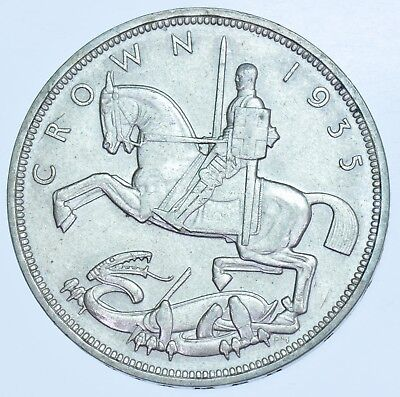 1935 Crown, British Silver Coin From George V Au