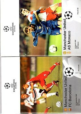 2 x MANCHESTER UNITED HOME EUROPEAN CHAMPIONS LEAGUE MATCHES 1998 Listed
