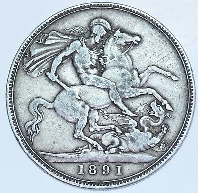 1891 Crown, British Silver Coin From Victoria Vf