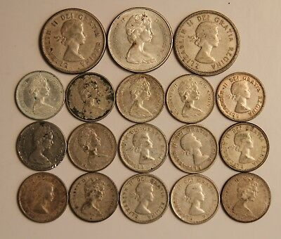 Collection of (18) Pre 1967 Queen Elizabeth Silver Coins