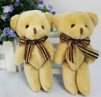 1pc Lovely Soft Plush Stuffed Mini Brown Ribbon Teddy Bear Toys Doll for Bouquet