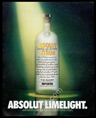 1989 Absolut Limelight Citron vodka bottle photo vintage print ad