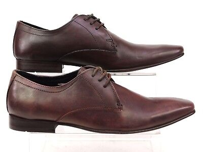 Mens Office Brown Leather Lace Smart Formal Work Block Heel Shoes Size 6 Faded