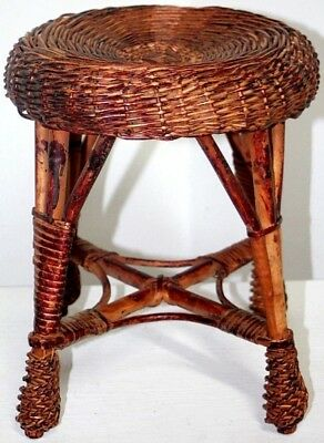 Antique Primitive Wicker Rattan Plant Stand W/ Bent Wood Frame. Great Condition!