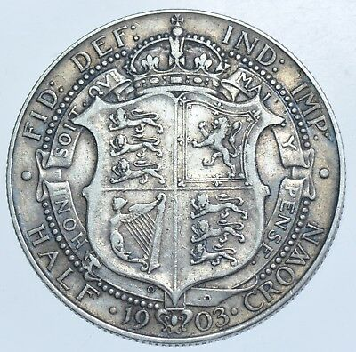 VERY RARE KEY DATE, 1903 HALFCROWN BRITISH SILVER COIN FROM EDWARD VII aVF+
