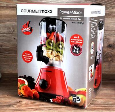 2-in-1 POWER MIXER by GOURMETMAXX ROT 400W STANDMIXER für SHAKES SMOOTHIES NEU *
