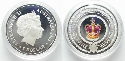 AUSTRALIA 1 $ 2003 ELIZABETH II GOLDEN JUBILEE silver COLORED # 97788