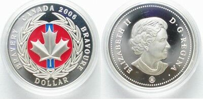 CANADA 1 Dollar 2006 MEDAL OF BRAVERY COLORIZED silver Proof RARE!!! # 97775