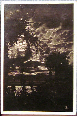 1935 Soviet postcard NIGHT VIEW IN GAGRY