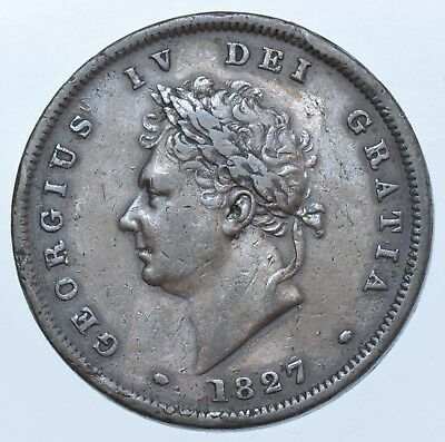 Rare Key Date 1827 Penny, British Coin From George Iv Vf