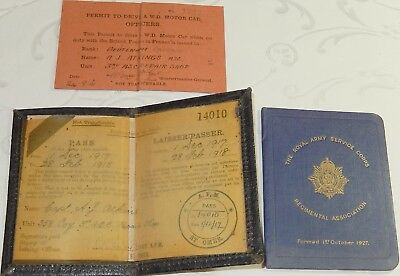World War 1 Army Service Corps Pass Book & License Captain Atkings - Ww1