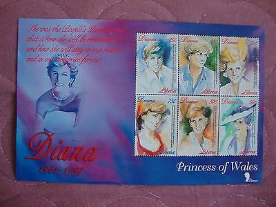 Diana Princess of Wales Memorial 1997 Liberia Stamp Sheetlet of 6 values
