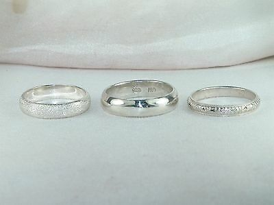 3 Sterling Silver .925 Rings- High Polish, Sandblasted, & Textured Bands