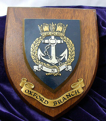 VINTAGE RARE Wooden Royal Navy Association Plaque OXFORD BRANCH