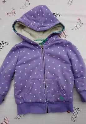 Mini Boden Girls Fleece lined hoodie jacket, purple with stars Age 2-3 yrs