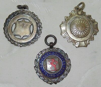 3 X 1920's - 1950's Cycling Medal Watch Fobs - One Silver , One Enamel Job Lot