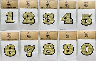 """6/"""" NUMBER DECAL-Gold Leaf//Flat Gold//Black motorcycle race digit sticker graphics"""