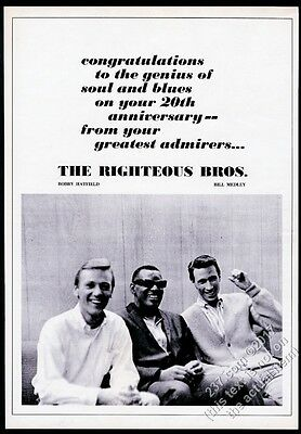 1966 Ray Charles The Righteous Brothers photo big vintage trade print ad
