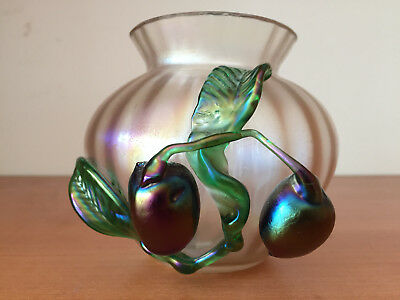 Antique Vintage Iridescent KRALIK Loetz Glass Vase Applied Plum Fruit Decoration