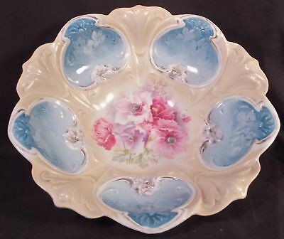 Beautiful Hand Painted Rs Prussia Puffy Bowl, Pink Poppies & Intaglio Flowers
