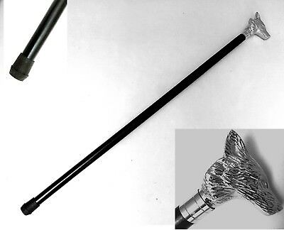 Classic Fox Head Wooden Walking Stick Foxes Cane Silver Handle Nickel Finish