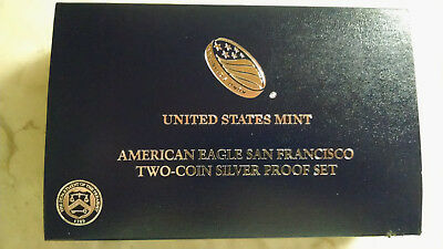 2012 S American Eagle San Francisco Two Coin Silver Proof Set With Box & Coa