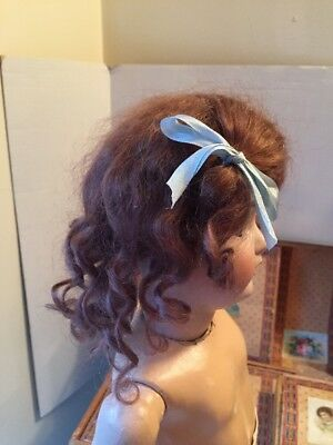 ~ Beautiful! Antique Style Vintage Brown Curly Side Part Mohair Doll Wig ~