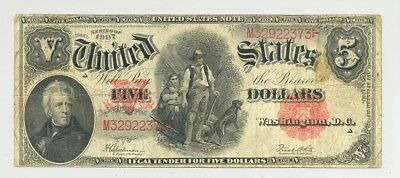 $5 Series 1907 Woodchopper United States Notes nice looking, no problem
