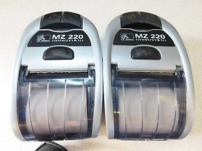 Lot Of 2 Zebra MZ 220 Mobile Point of Sale Thermal Printers, Bluetooth & USB