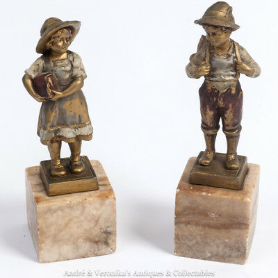Antique Austrian BOY & GIRL Cold Painted Bronze Spelter Statuettes Figurines 7""