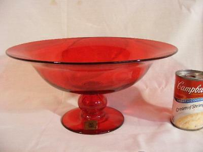 "Large Old 12"" Gundersen Pairpoint Ruby Ball Centerpiece Bowl"