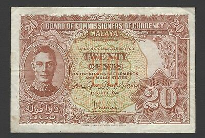 Board of Commissioners of Currency Malaya 1941 20c KGVI banknote