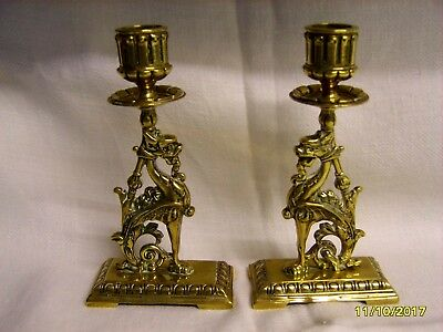 Pair Of Regency Period Brass Dragon Candlesticks Gothic Style