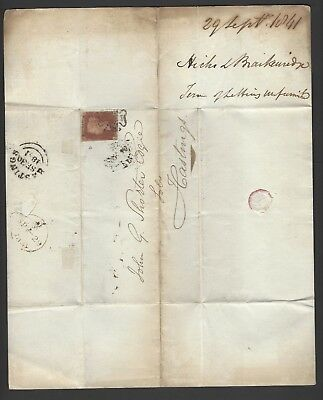 1841 1d red LL used on 1844 entire letter to Hastings