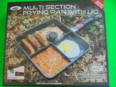Ngt 3 way multi section frying pan with glass lid fishing/camping etc.