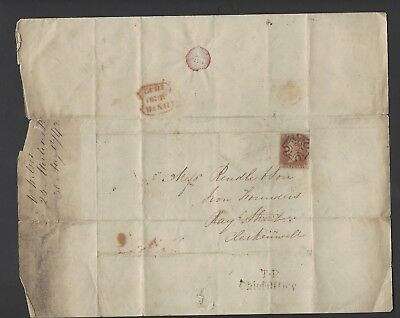 1841 four margined 1d red FH used on 1842 entire letter to London