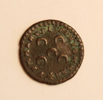 "1707 ""IN HOC SINO MILITAMUS"" Maltese Copper Coin"