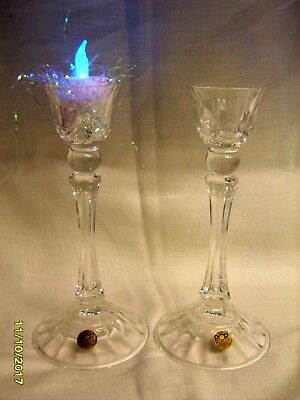 Pair Of Vintage Glass Royal Crystal Rock Italy Candlesticks