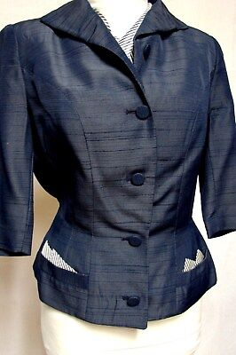1950s Vintage SACONY PALM BEACH NAVY SILK or RAYON SHANTUNG SUIT JACKET BLAZER