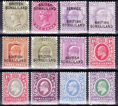 SOMALILAND 1903  QV/EVii COLLECTION 12 VALUES  FINE MH OG