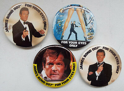James Bond 007 For Your Eyes Only, Roger Moore Badges x 4
