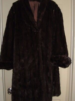 Genuine Vintage Gorgeous Mahogany Brown Mink  Fur Full Length Jacket Coat 2X 3X