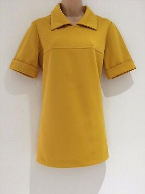 Vintage 80's Retro Mustard Yellow Short Sleeve Tunic Style Shirt Top Size 14