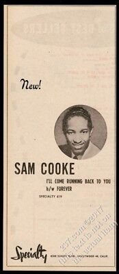1957 Sam Cooke photo I'll Come Running Back To You vintage trade print ad
