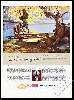 1948 Howard Hughes oil well Tool Company Native American Indian vintage print ad